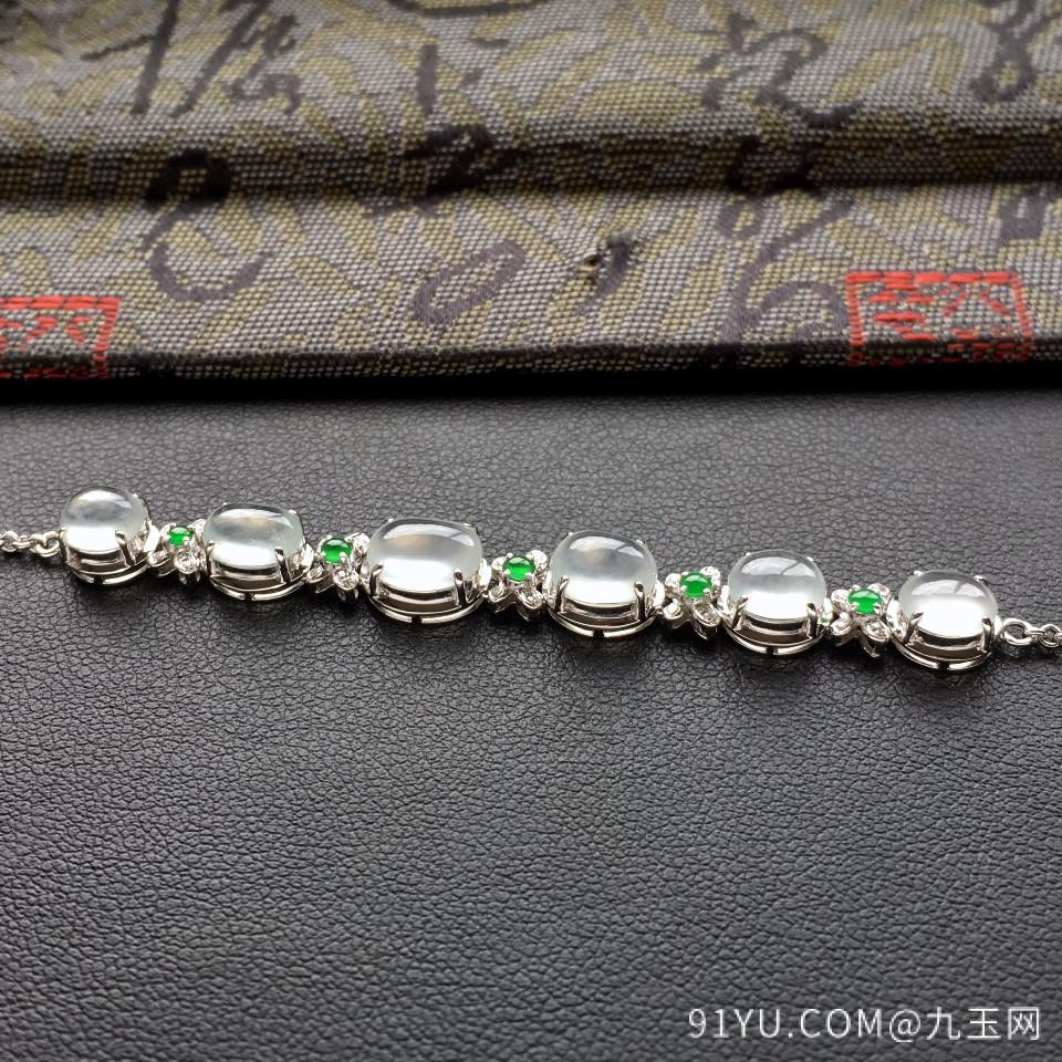 冰种白色翡翠手链镶白金钻石第3张