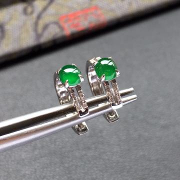 冰种阳绿镶白金钻石翡翠耳钉