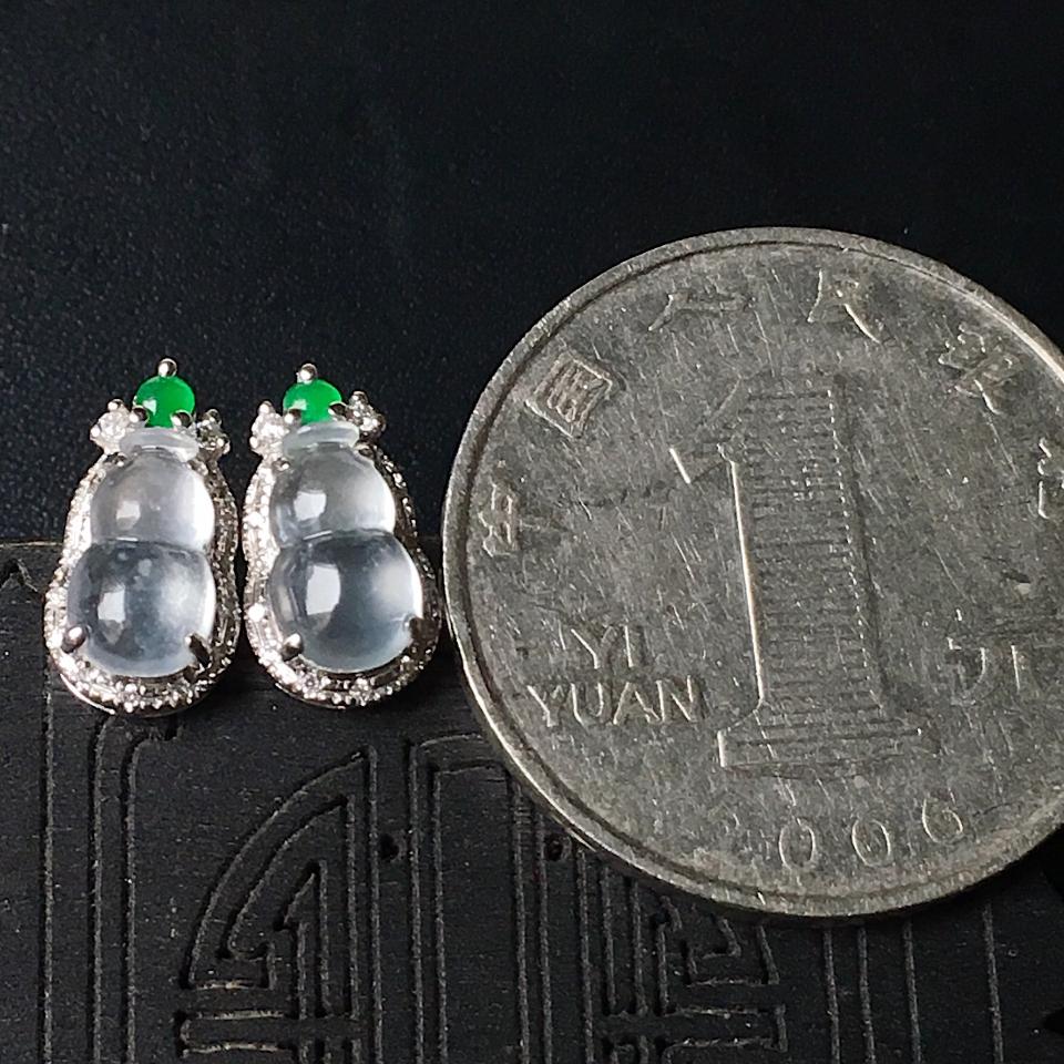 冰种葫芦翡翠耳钉镶白18K金钻石第7张
