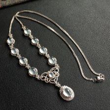 冰种无色翡翠项链 镶白金钻石