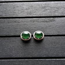 冰种蓝绿翡翠耳钉镶白金钻石