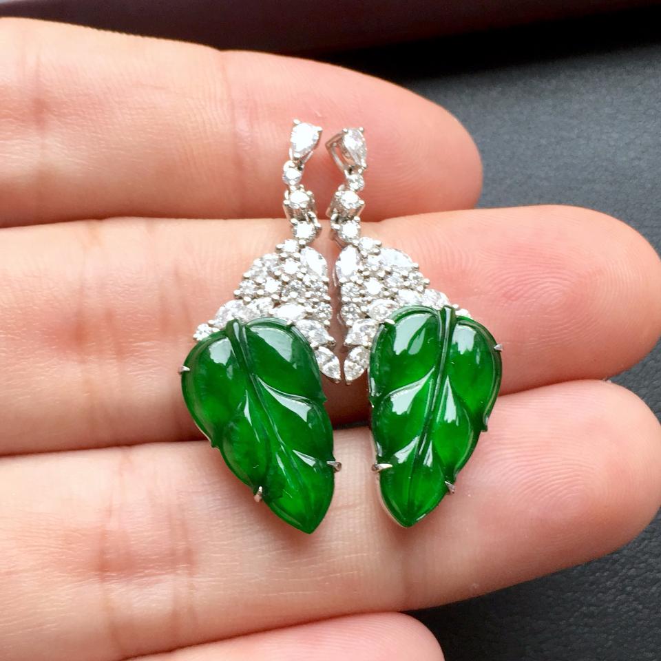 冰种阳绿金枝玉叶翡翠耳钉一对 镶白金钻石第6张