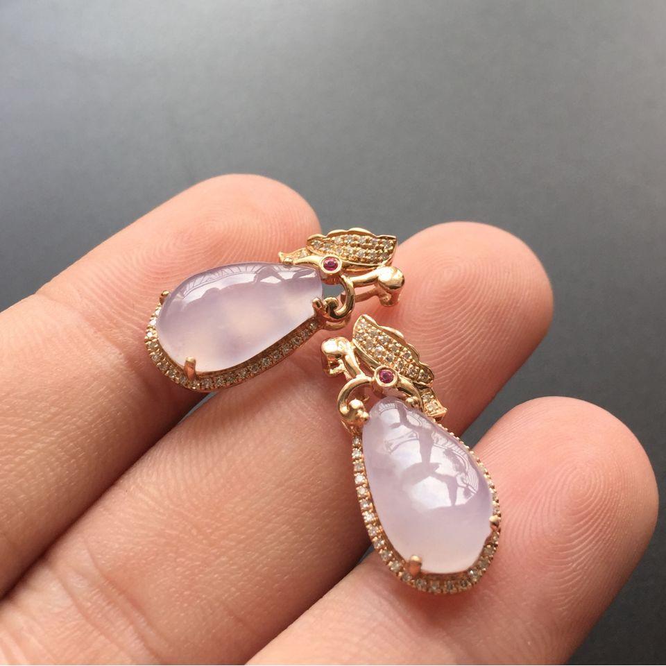 紫罗兰镶金镶钻翡翠耳钉第3张