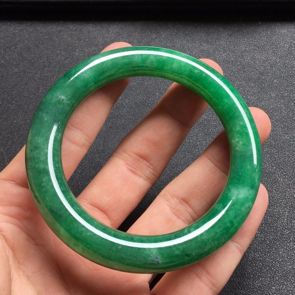满绿冰种翡翠手镯 (圆条)