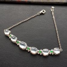冰种白色翡翠手链镶白金钻石