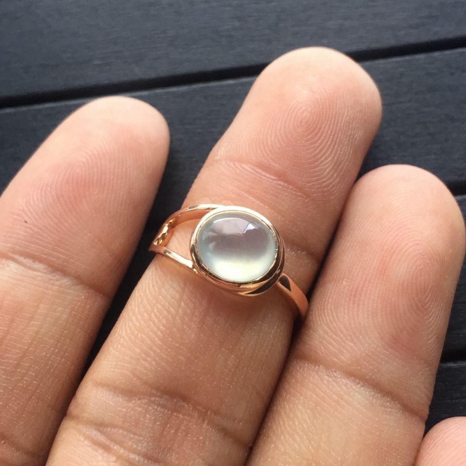 冰玻种无色翡翠戒指 镶玫瑰金第7张