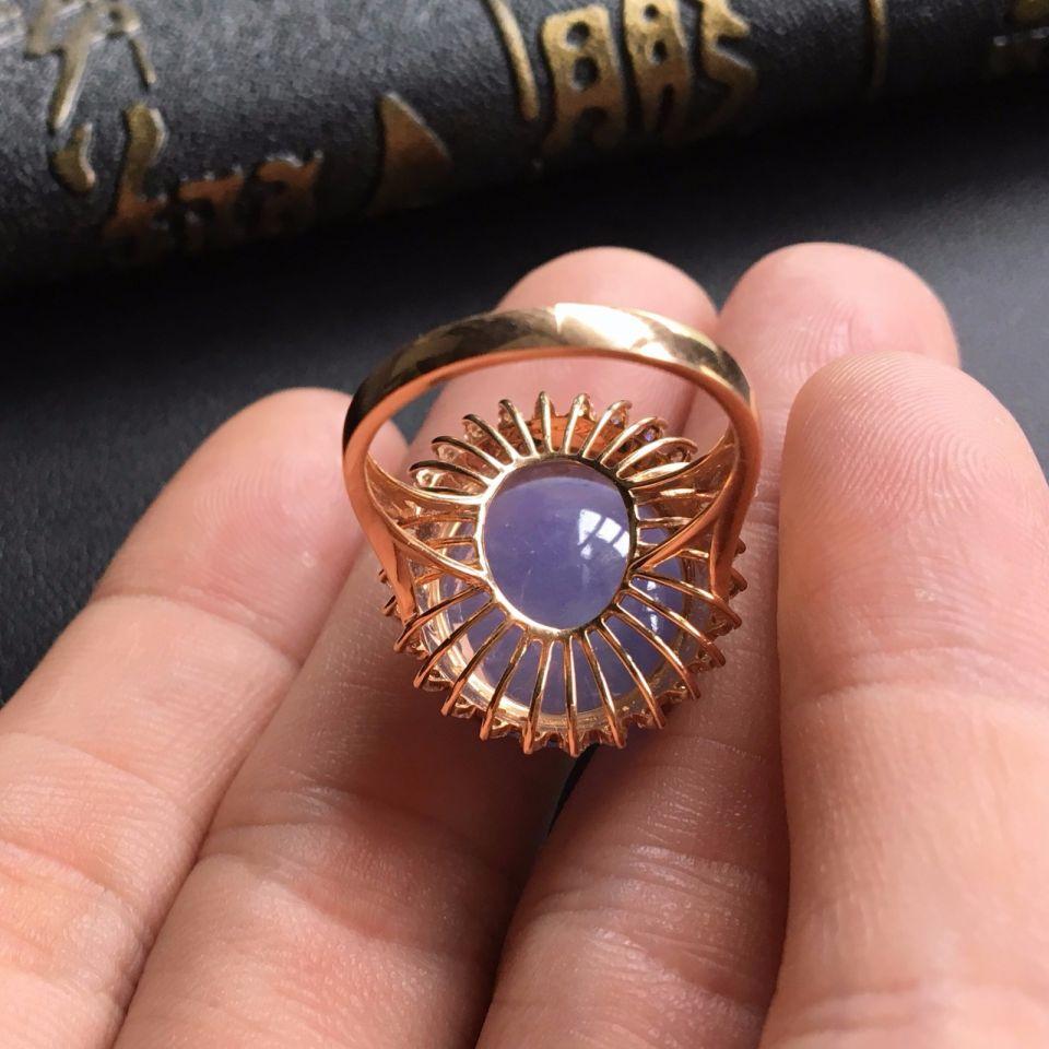 糯种紫罗兰翡翠戒指 镶玫瑰金钻石