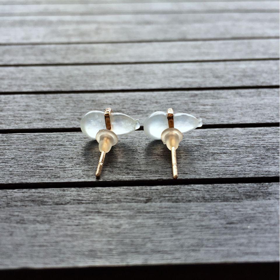 冰种淡晴水翡翠葫芦耳钉 镶玫瑰金钻石第6张