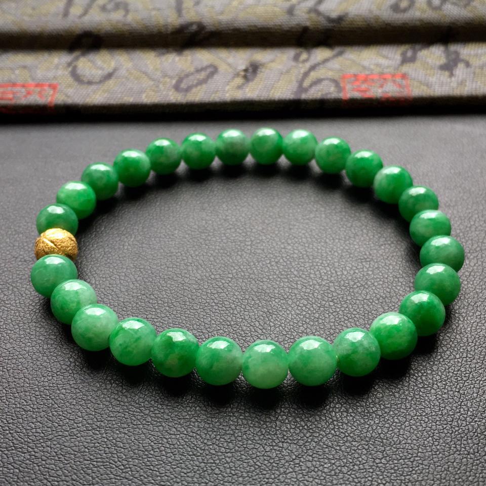 深绿细糯种圆珠翡翠手串