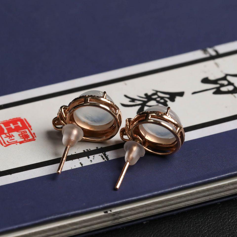 无色冰种翡翠耳钉一对 镶18K玫瑰金钻石第4张