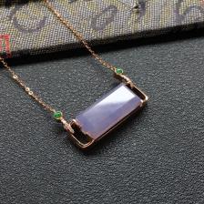 糯冰种紫罗兰平安牌翡翠锁骨项链 镶玫瑰金钻石