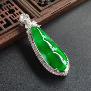 冰种阳绿福豆翡翠吊坠