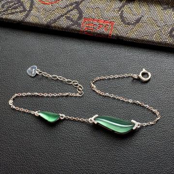 冰种蓝水随形翡翠手链 镶白金钻石