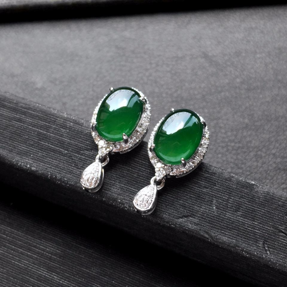 深绿冰种翡翠耳钉一对 镶白金钻石第3张
