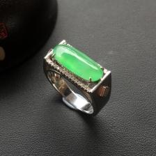 冰种翠绿翡翠马鞍戒指