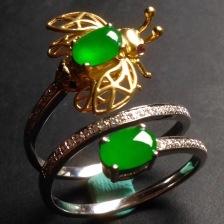 冰种阳绿翡翠戒指
