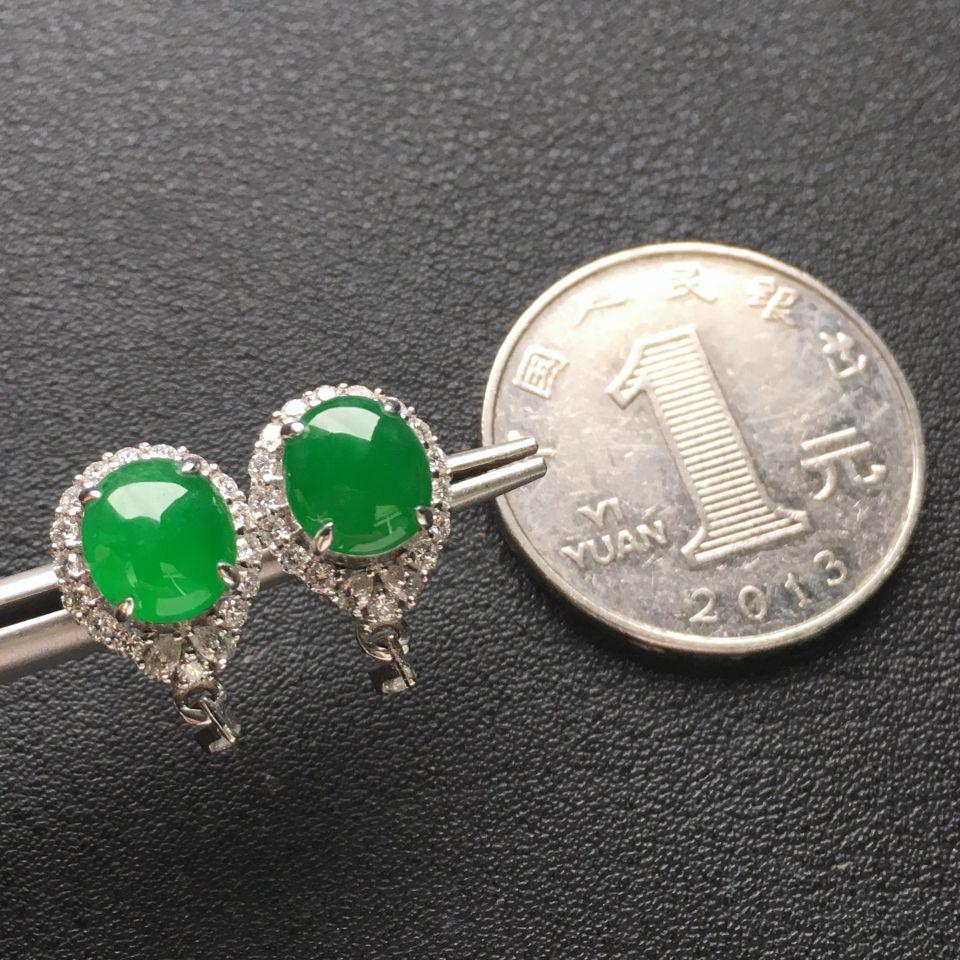 翠绿冰种翡翠耳钉一对 镶白金钻石第8张
