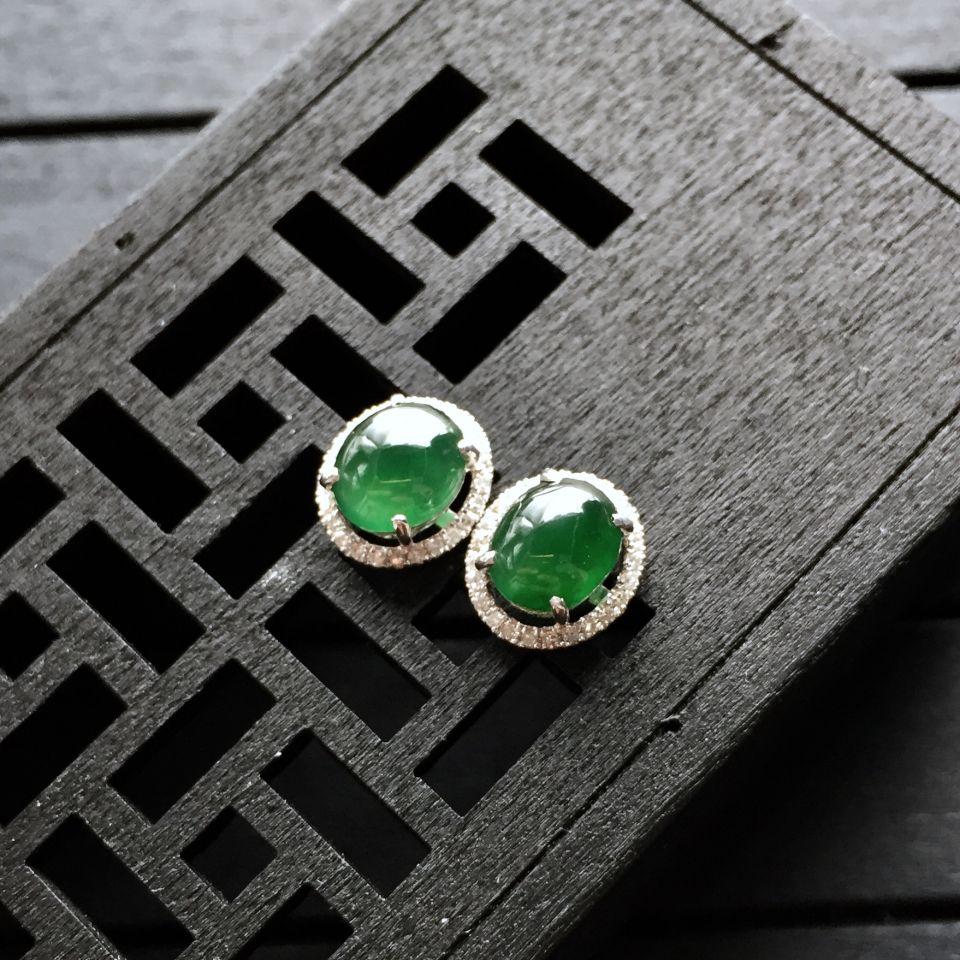 冰种蓝绿翡翠耳钉镶白金钻石第2张