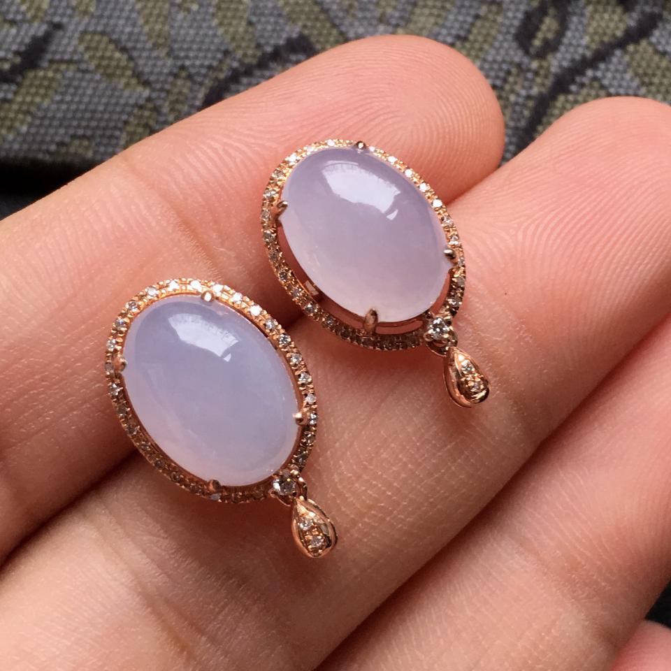 糯冰种紫罗兰翡翠耳钉一对 镶玫瑰金钻石第5张