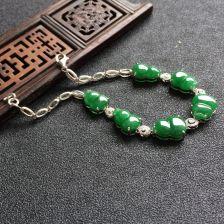 糯冰种深绿色翡翠葫芦手链 镶白金钻石