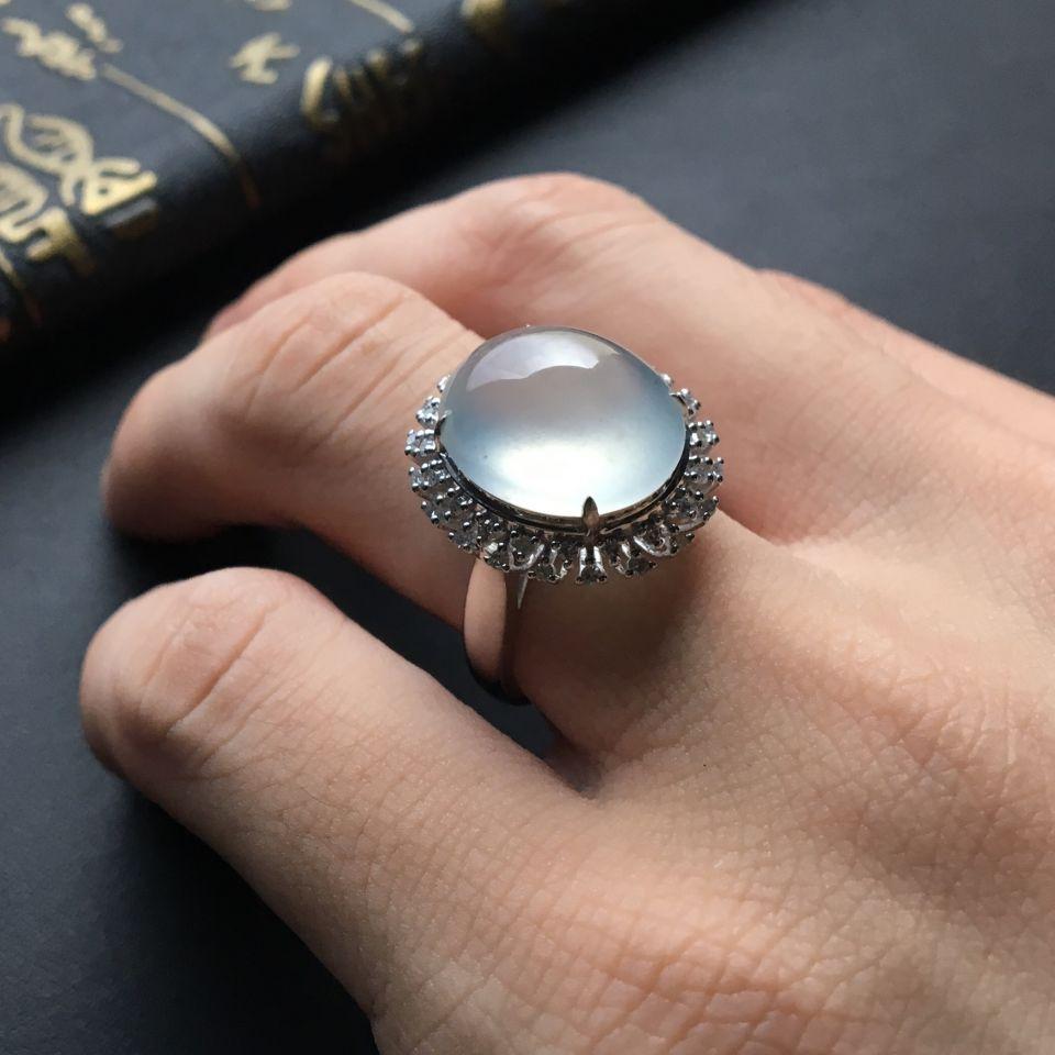 晴水冰种翡翠戒指 镶白金钻石第8张