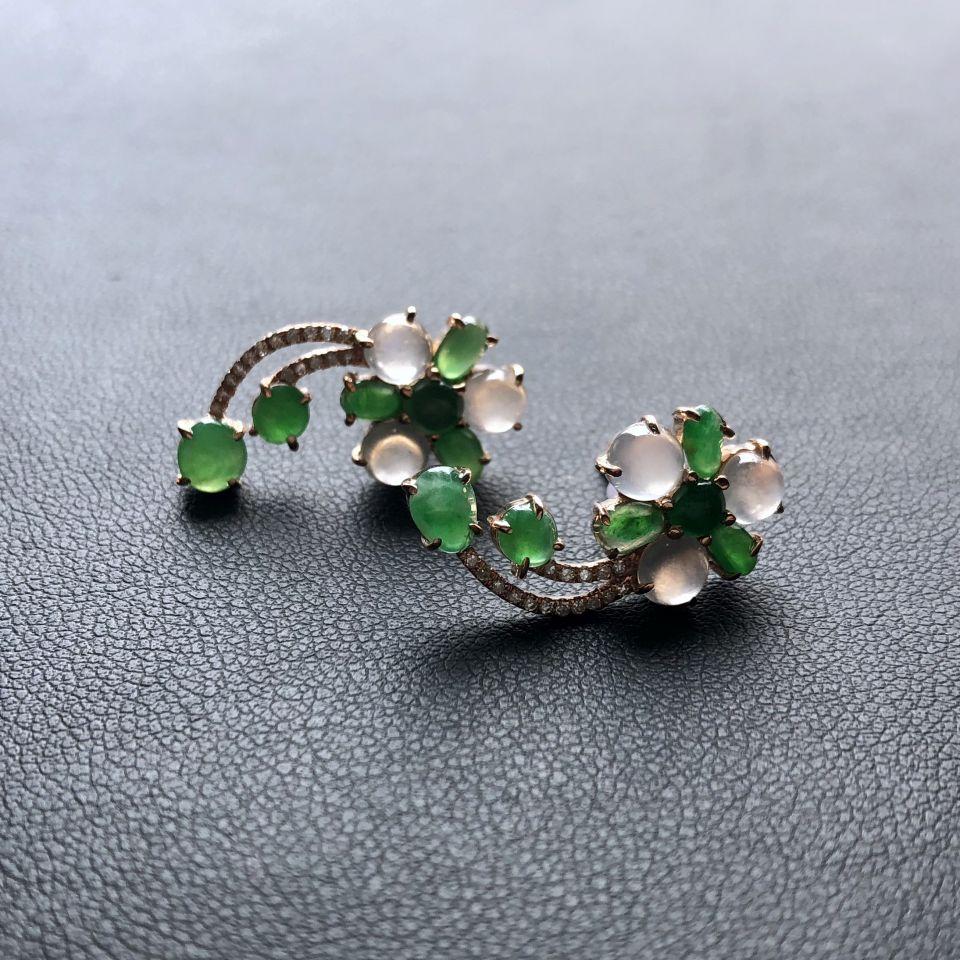 冰种翠色/无色花型翡翠耳钉 镶玫瑰金钻石第3张