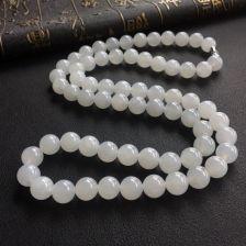 糯冰种白色圆珠翡翠项链