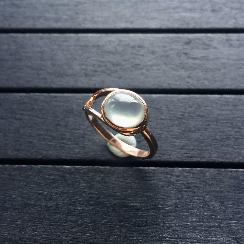 冰玻种无色翡翠戒指 镶玫瑰金第2张