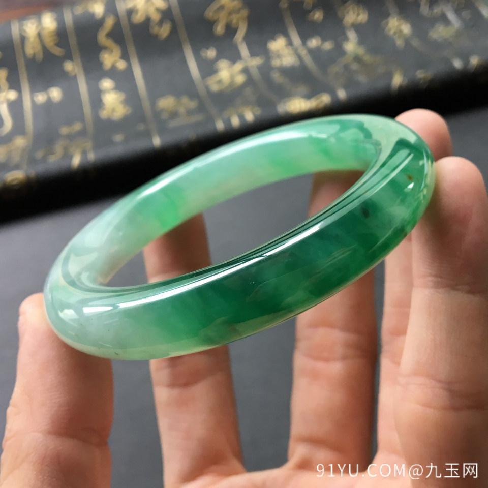 冰种飘绿翡翠手镯 (圆条)第7张