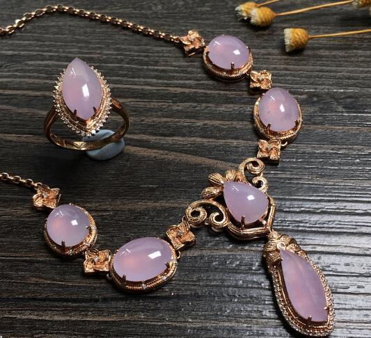 冰种粉紫马眼金镶钻天然翡翠戒指项链套装.jpg