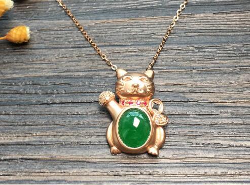 冰种满绿招财猫天然翡翠锁骨链1.jpg