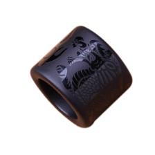 天然黑曜石游龙戏珠扳指戒指