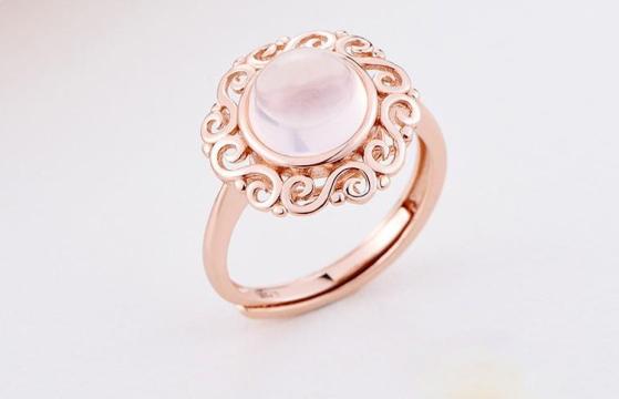 天然芙蓉石18K玫瑰金彩戒指