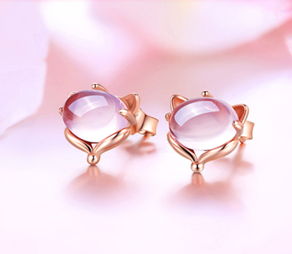 天然芙蓉石925银玫瑰金/白金色可爱小狐狸耳坠