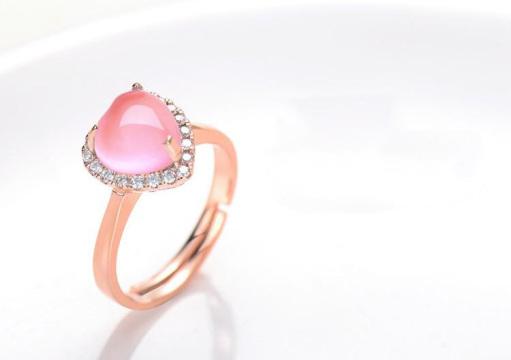天然芙蓉石925纯银玫瑰金色初心戒指