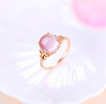 天然芙蓉石925纯银玫瑰金戒指