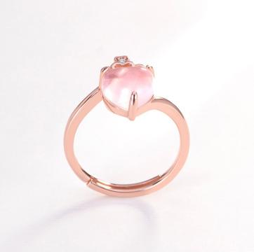 天然芙蓉石925纯银镀玫瑰金爱心皇冠戒指