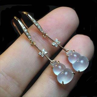 翡翠葫芦耳环镶嵌款式