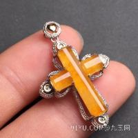新品黄翡十字架吊坠18K金伴钻石镶嵌A货翡翠,种好色辣,时尚大方,完美无瑕