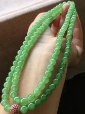 冰绿佛珠项链,卡7.5mm