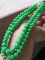 36号 阳绿珠链,颜色鲜艳亮丽,卡6.8-8.5mm,86颗。超值价