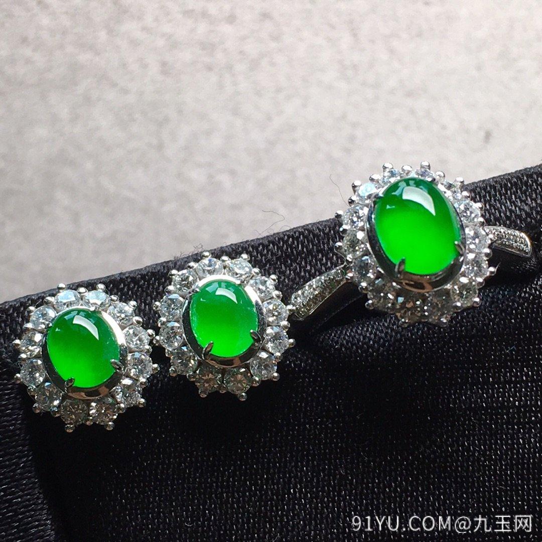 高冰纯正阳绿戒指+耳钉套装,点睛之翠!第3张