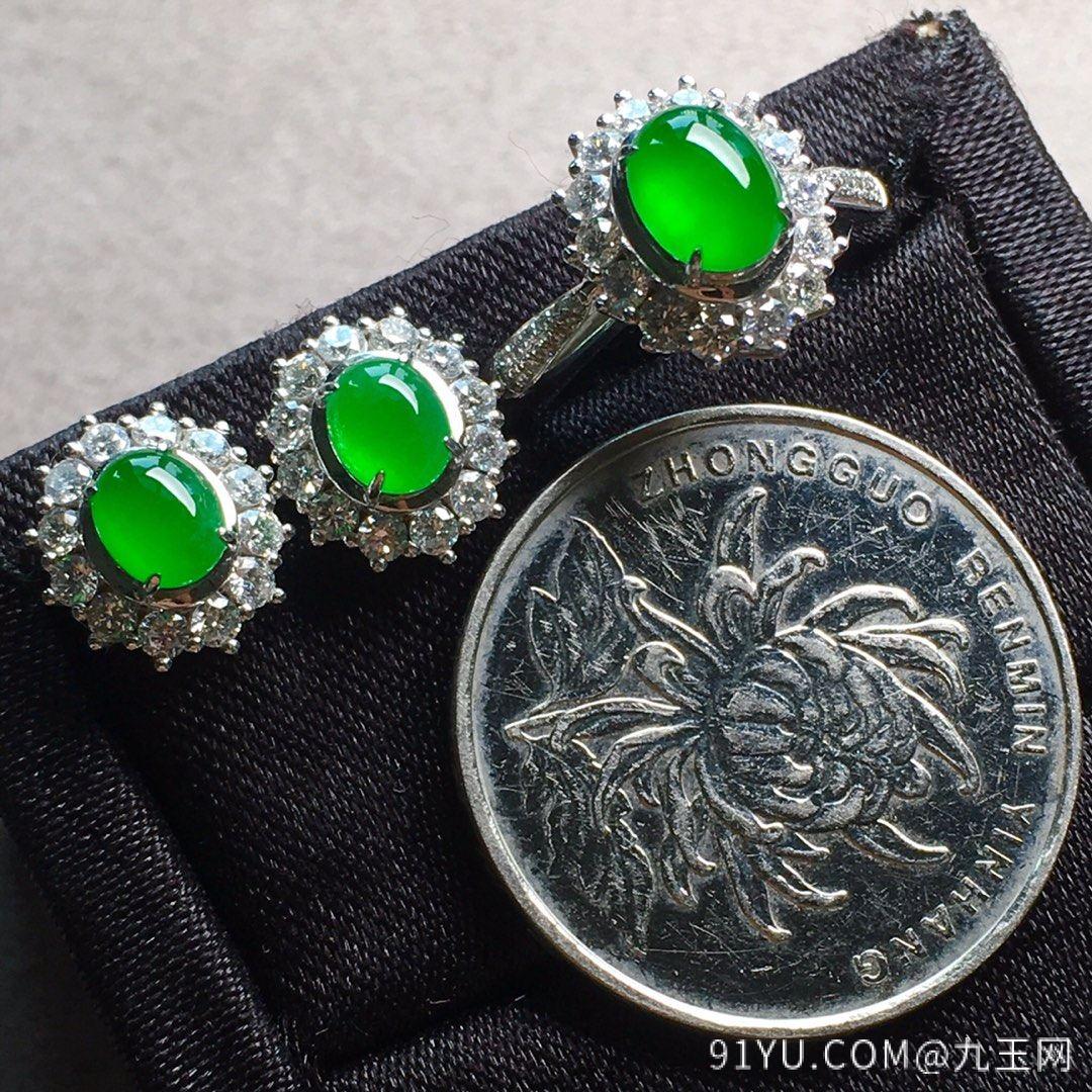 高冰纯正阳绿戒指+耳钉套装,点睛之翠!第6张