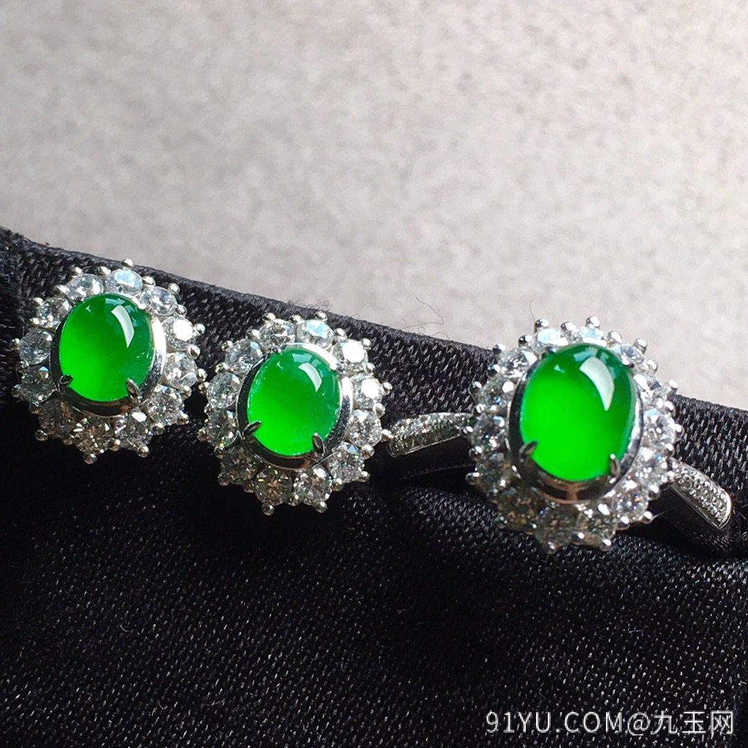 高冰纯正阳绿戒指+耳钉套装,点睛之翠!第4张