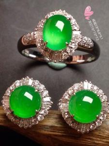 高冰阳绿戒指+耳钉套装,18k金奢华钻石镶嵌