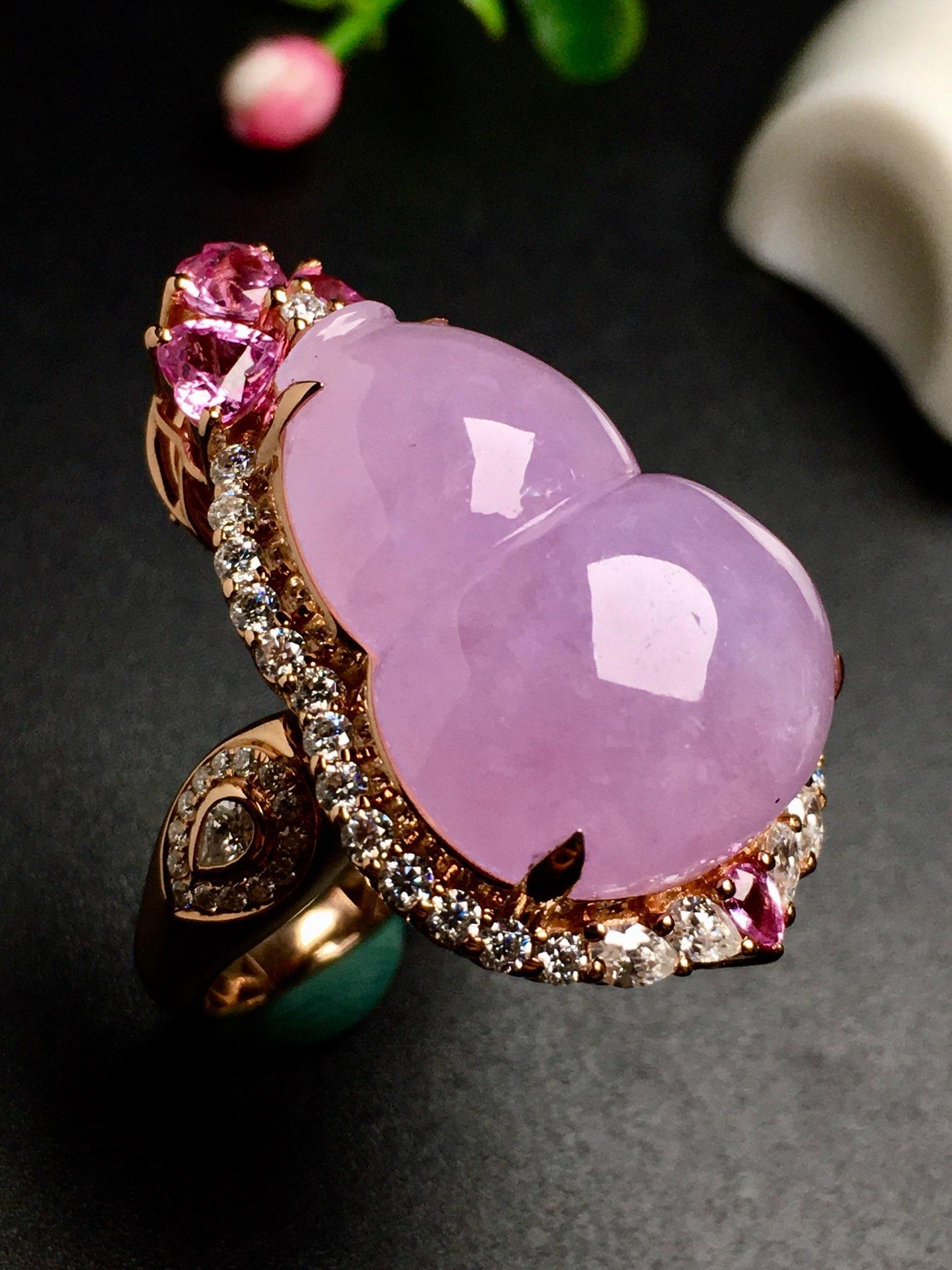 冰紫葫芦吊坠,两用款,饱满,戒指内圈17裸石尺寸22-16.6-6.5