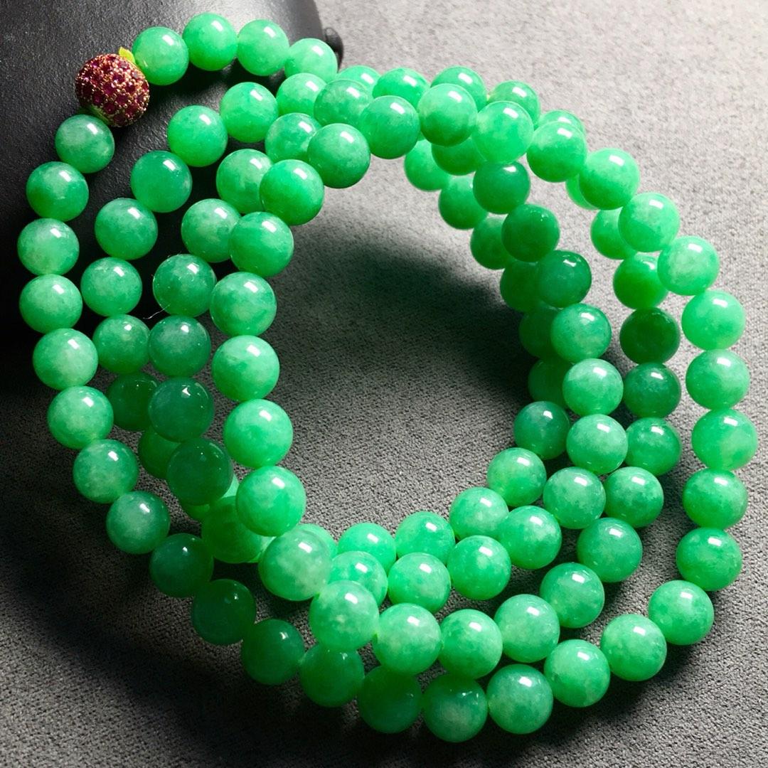 冰种阳绿大珠珠珠链手链两用,珠圆玉润,超级大气,裸石:6.7mm。颗
