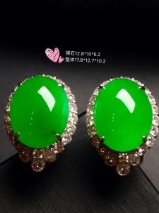高冰阳绿大蛋耳钉,18k金奢华钻石镶嵌
