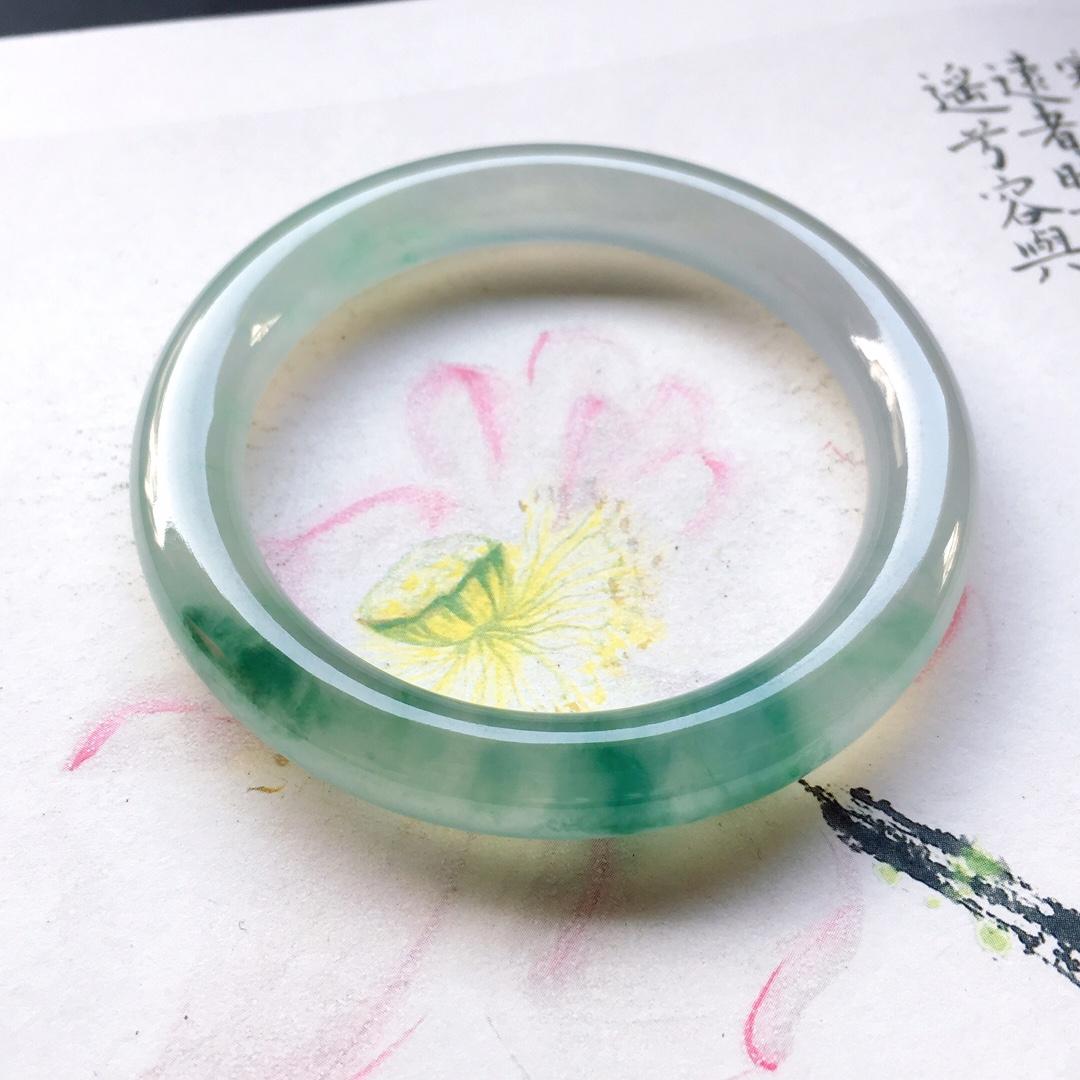 冰飘花圆条手镯,圆条尺寸:51/9mm重40g