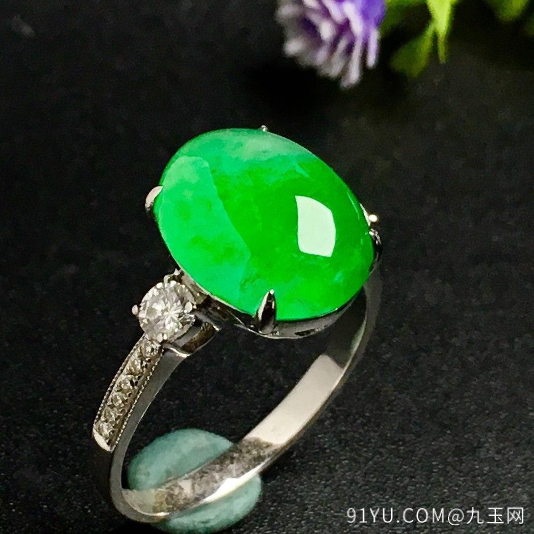 冰阳绿戒指,色阳,戒指内圈17裸石尺寸12-9.5-5,特惠价第2张